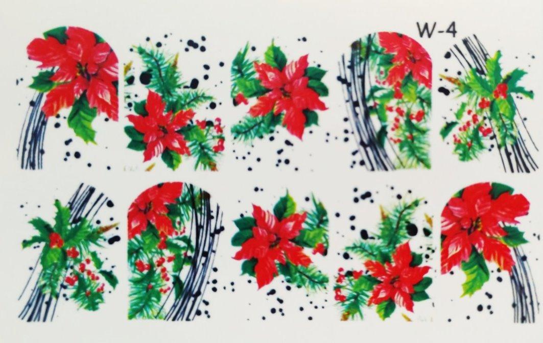 Водные наклейки (слайдер дизайн) Новогодний дизайн W-4