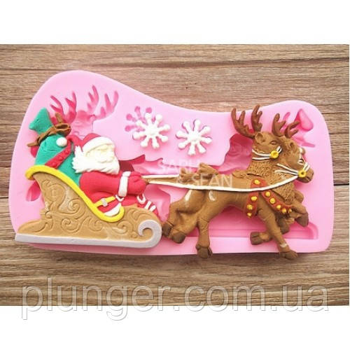 Молд кондитерський силіконовий для мастики Дід Мороз на санях