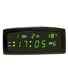 Настільні електронні годинники LED CX 909-A з зеленою підсвіткою, чорні