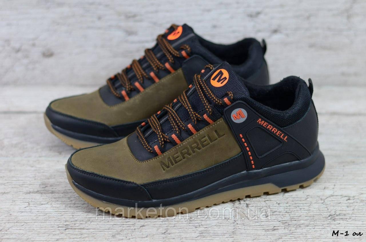 Чоловічі шкіряні кросівки Чорні з помаранчевим Merrell