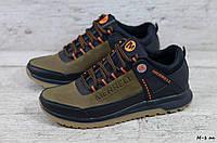 Чоловічі шкіряні кросівки Чорні з помаранчевим Merrell, фото 1
