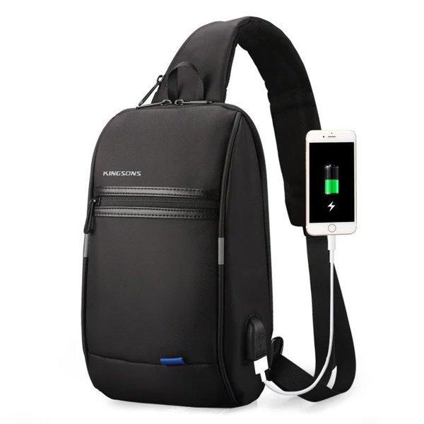 Рюкзак на одно плечо Kingsons KS3174W с USB портом Черный (4207-12271)