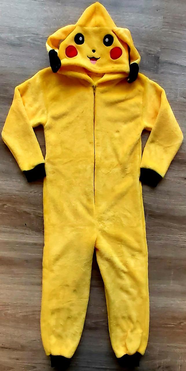 Детская тёплая пижама кигуруми из рваной махры Пикачу
