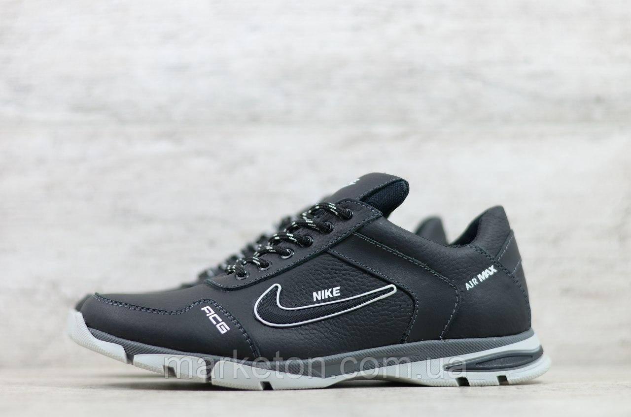 Чоловічі шкіряні кросівки демісезонні Чорні з червоним Nike