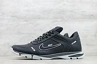 Чоловічі шкіряні кросівки демісезонні Чорні з червоним Nike, фото 1