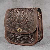 """Авторская кожаная сумка """"Дубок"""" ручной работы, большая коричневая сумка из натуральної кожи, фото 1"""