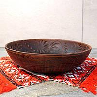 Тарелка глубокая для вареников из красной глины 26 см, украинский производитель