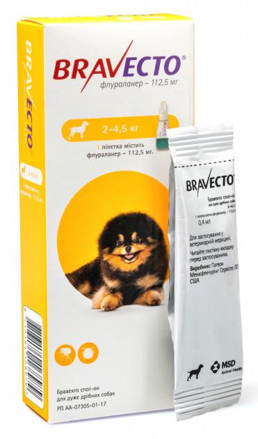 Капли БРАВЕКТО BRAVECTO от блох и клещей для собак весом от 2 до 4,5 кг, 1 пипетка