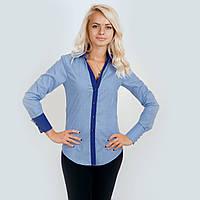 Рубашка женская голубая. Длинный рукав,приталенная. С контрастной отделкой. Разм. XS-L. Davanti.