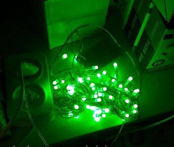 Гирлянда однотон зеленая/ красная 100лэд 8м