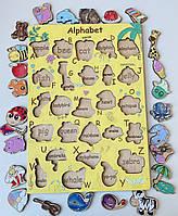 Алфавит английский сортер деревянный  Intellect Wood 28*40 (s00034)