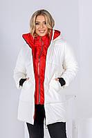 Женская Зимняя КУРТКА Батал Черная, Красная, Молочная, фото 1