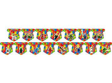 """""""Лего Ниндзяго: Красный"""" - Гирлянда Буквы длинна - до 2м., РУС"""