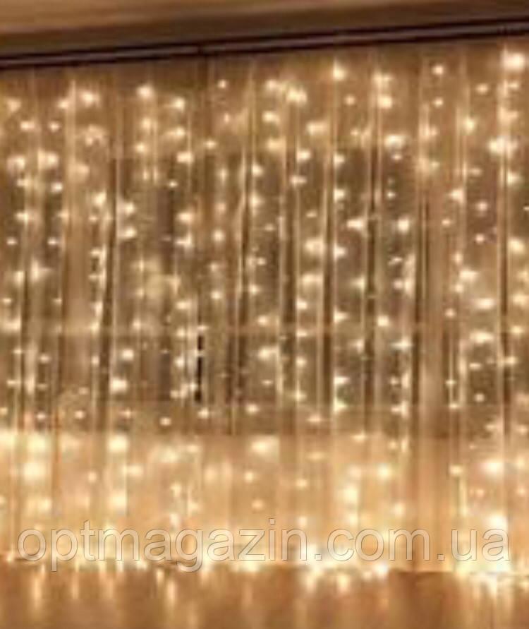 Гірлянда Штора-Водоспад велика лампа прозорий шнур 3*2 м Waterfall 240 LED з перехідником