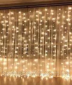Гирлянда Штора-Водопад крупная лампа прозрачный шнур 3*2 м Waterfall  240 LED с переходником, фото 2