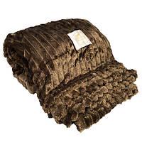 Плед KOLOCO полоска микрофибра 210*230 коричневый