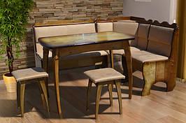 Комплект кухонный обеденный из натурального дерева Микс мебель Ромео (угол+стол+2 таб.)