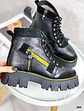 Женские ботинки ЗИМА черные с желтым на шнуровке натуральная кожа, фото 6