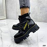 Женские ботинки ЗИМА черные с желтым на шнуровке натуральная кожа, фото 3