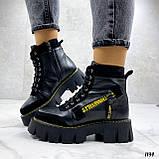 Женские ботинки ЗИМА черные с желтым на шнуровке натуральная кожа, фото 4