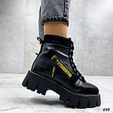 Женские ботинки ЗИМА черные с желтым на шнуровке натуральная кожа, фото 7