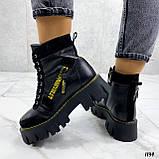 Женские ботинки ЗИМА черные с желтым на шнуровке натуральная кожа, фото 5