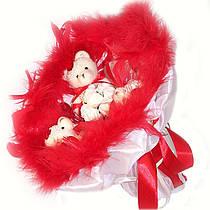 Букет из игрушек Мишки 3 в красном