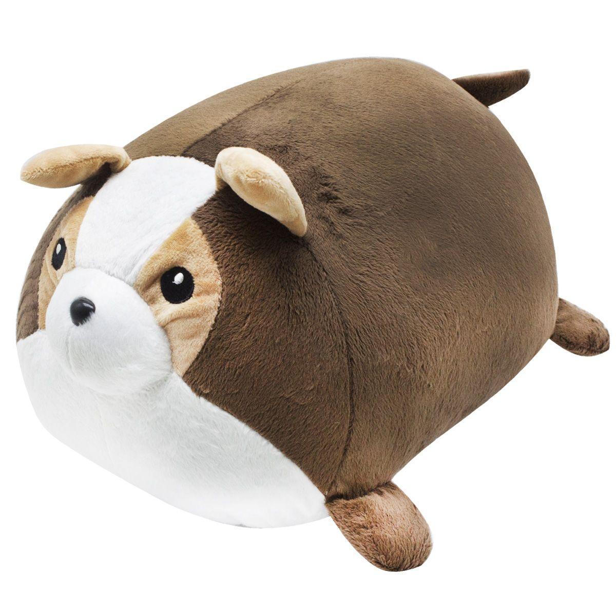 Плюшевая игрушка подушка валик Boxi Мопсик 45 см коричневый
