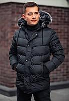 Куртка парка мужская черная зимняя с капюшоном новинка 2020
