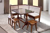 Комплект кухонный обеденный из натурального дерева Микс мебель Семейный (угол+стол+3 таб.)