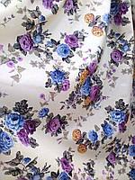 Ткань для штор, скатертей в стиле прованс, 50 % хлопок, букеты роз, фиолет+сирень