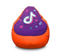 """Кресло мешок """"Tik Tok. Big logo. Orange"""" Оксфорд"""