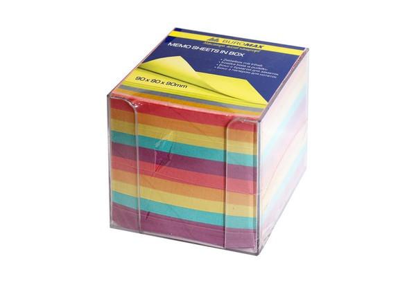 Бокс з кольоровим папером  90*90*90 мм прозорий BUROMAX