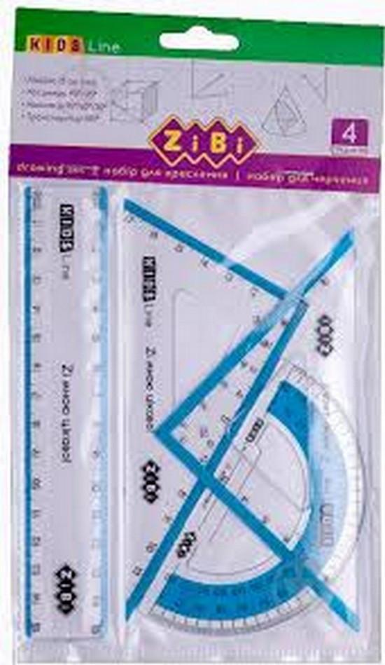 Набір для креслення ZiBi: лінійка 15см, 2 косинця, транспортир, з блакитною смужкою, KIDS Line