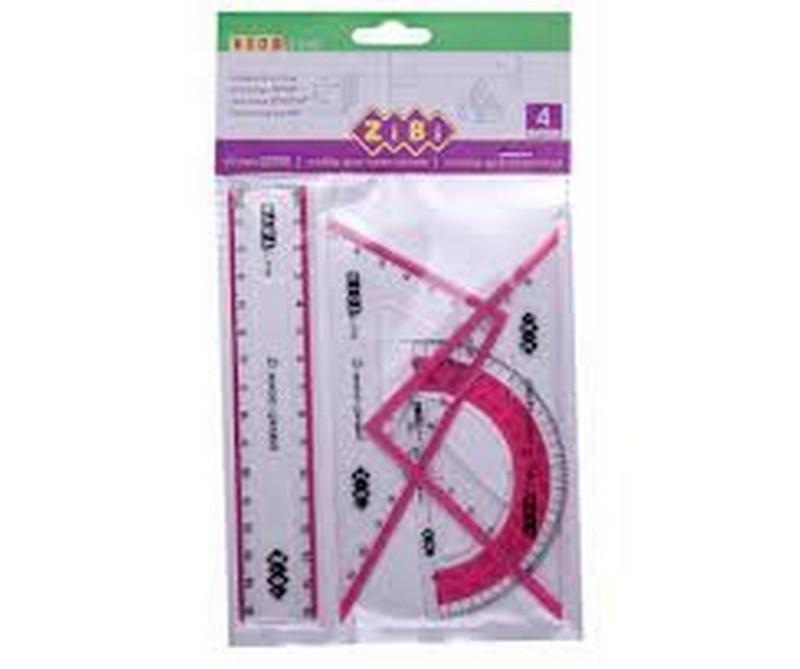 Набір для креслення ZiBi: лінійка 15см, 2 косинця, транспортир, з рожевою смужкою, KIDS Line
