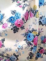 Ткань для штор, скатертей в стиле прованс, 50 % хлопок, букеты роз, голубой+розовый