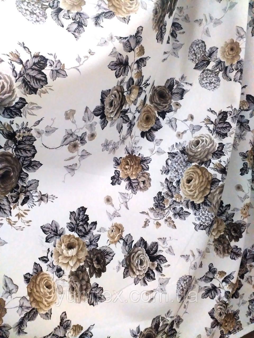 Ткань для штор, скатертей в стиле прованс, 50 % хлопок, букеты роз, графитовый+коричневый