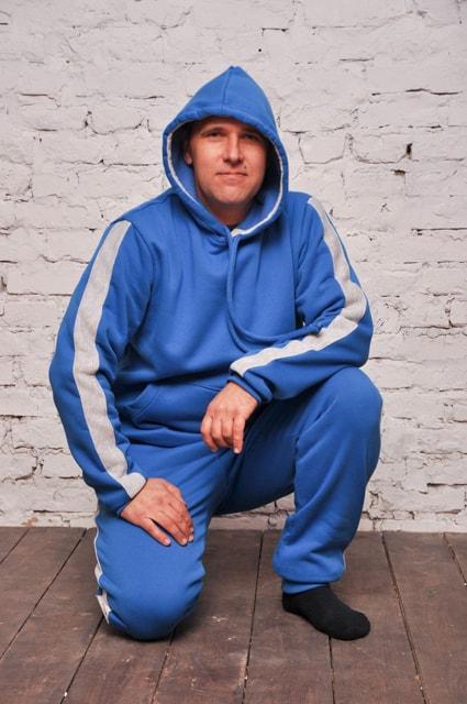 Чоловічий теплий трикотажний спортивний костюм Maks синій з лампасами (561)