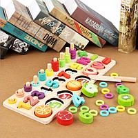 """Деревянная игрушка, набор для обучения """"Цифры-фрукты"""". Развиваючищие игрушки для детей, СС2229-00"""