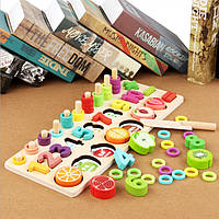 Детская развивающая деревянная игрушка Цифры-фрукты СС2229-00