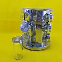 Набор емкостей баночек для специй на вращающейся подставке карусель 12 шт Spice Carousel стальной