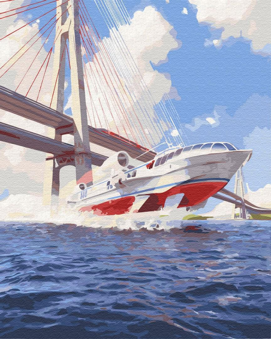 Картина рисование по номерам Brushme БК Катер BK-GX30178 40х50 см Море, морской пейзаж, корабли набор для