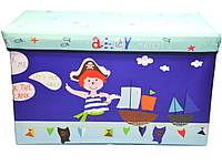 Бокс-пуфик для игрушек (Пираты синий)