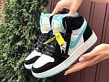 Кросівки Nike Air Jordan 1 Retro білі з мятою. Кроссовки Найк Аир Джордан 1 Ретро демисезонные, фото 5