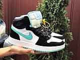 Кросівки Nike Air Jordan 1 Retro білі з мятою. Кроссовки Найк Аир Джордан 1 Ретро демисезонные, фото 3