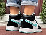 Кросівки Nike Air Jordan 1 Retro білі з мятою. Кроссовки Найк Аир Джордан 1 Ретро демисезонные, фото 9
