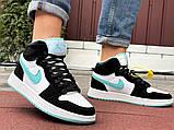 Кросівки Nike Air Jordan 1 Retro білі з мятою. Кроссовки Найк Аир Джордан 1 Ретро демисезонные, фото 4