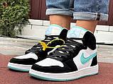 Кросівки Nike Air Jordan 1 Retro білі з мятою. Кроссовки Найк Аир Джордан 1 Ретро демисезонные, фото 7