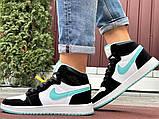 Кросівки Nike Air Jordan 1 Retro білі з мятою. Кроссовки Найк Аир Джордан 1 Ретро демисезонные, фото 8