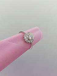 Серебряное кольцо цветок с камнями